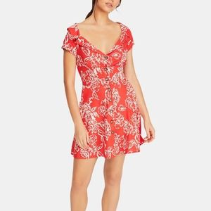 Free People Button Down Floral Red Dress